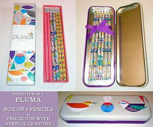 PLUMA Bird COLOURING PENCILS IN TIN or DRAWER BOX 6 ERASER TOP HB PENCILS Gift