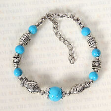 HOT Free shipping New Tibet silver multicolor jade turquoise bead bracelet S124B
