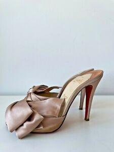Christian Louboutin Lady Bow T 100 Crepe Satin Nude Size EU 38.5