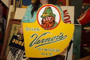 """Vernor's Ginger Ale Soda Pop Gas Oil 2 Sided 21"""" Porcelain Metal Flange Sign"""