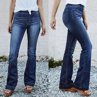 Plus Size Women's Summer Stretch Flare Bell Leg Trousers Long Denim Pants Jeans