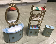 VTG Ideal Petite Princess Fantasy Dollhouse Furniture Bathroom Hamper Sink Lot