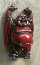 """Buddha Figurine Miniature Standing Arms Over Head Laughing Balls in Hand 2.75"""""""