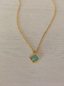 NWT KATE SPADE EVERYDAY SPADE CHARM NECKLACE GOLD / GREEN
