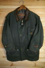 RCMP Elite Oilskin Jacket Green Waxed Country Rain Coat Leather Trim M