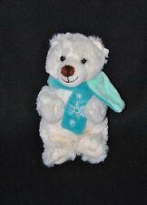 Peluche doudou ours polaire blanc GIPSY écharpe bleu vert flocons 18 cm TTBE