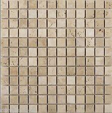 "Sample of Tumbled Light Travertine MOSAIC Tiles 23 x 23 mm (1"" X 1"")"