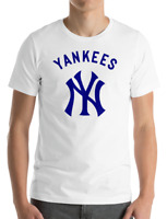 New York YANKEES WHITE T-Shirt NAVY Graphic Cotton Men Adult Logo Jersey S-2XL