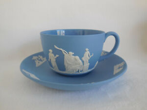 1956 Wedgwood White On Blue Jasperware Tea Cup & Saucer Set