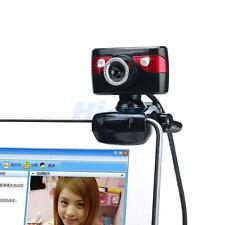 New USB 2.0 360°5MP HD Clip-on Web Camera Webcam with Mic for Computers PC Red