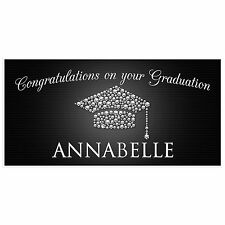 Diamond Class of 2017 Black and Silver Graduation Banner Personalized Party B...