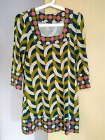 Boden Print  Dress Size 8 Ladies Womens  Greens Pink Beige Lovely