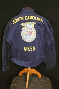 VINTAGE 1990'S AIKEN SOUTH CAROLINA FFA JACKET BLUE COTTON CORDUROY SIZE 46 XL