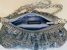 Accessorize silver chainmail zipped shoulder bag small