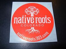 NATIVE ROOTS colorado weed dispensary red marijuana Skate STICKER helmets decal
