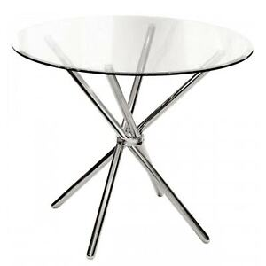 90cm Criss-Cross Round Clear Glass Dining Table Chrome Silver, 75cm H  - Febland