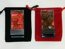 New Chessex Polyhedral Dice Lot 2 with Bags Red Black 7 piece Sets D20 DnD RPG