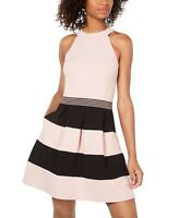 Speechless Pink Large L Junior A-Line Halter Crepe Striped Tiered Dress $59 #168
