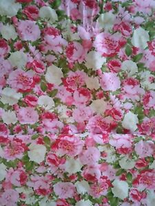 """Beautiful Spring Colorful Candace Allen Red White & Pink Roses Fabric ~44""""x 220"""""""