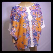 CLOVER CANYON Rosa Weiß Orange Paisley blau Kimono überdimensional Top S