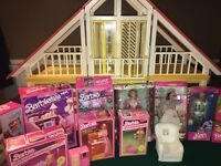 Vintage A-Frame Barbie Dream House With Dolls,Furniture, And A Lot More ++