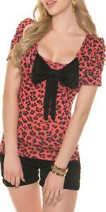 Sexy Shirt, Top mit Schleife,Coral, Größe M