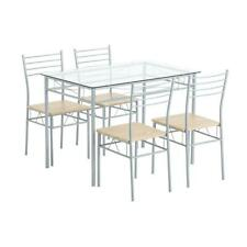 Durable 5 Piece Dining Table Set Glass 4 Chairs Seats Kitchen Home Decor Silver