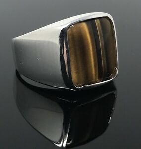 925k Solid Sterling Silver Tiger's Eye Men's Ring -US Seller- P2G