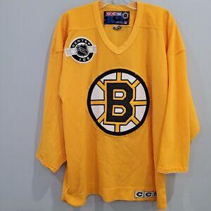 VTG CCM Center Ice  NHL Boston Bruins Yellow Practice Hockey Jersey Mens M Sewn