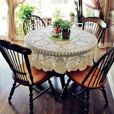 Round Vintage Lace Tablecloth Hand Crochet Cotton Table Cloth Topper Doily 52""