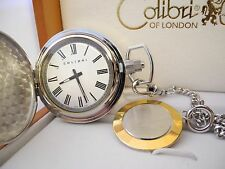 Chain And Matching Fob New Reduced Colibri Twotone White Face Pocket Watch W/