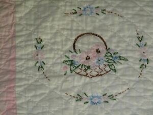 "VTG Embroidered Basket of Flowers Quilt 80"" X 68"" Hand Sewn & Quilted Pink!"
