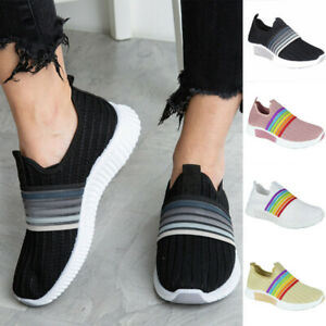 Womens Rainbow Ladies Trainers Sneakers Slip On Knit Jogging Plimsole Gym Shoes
