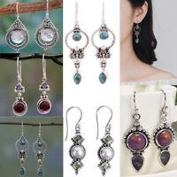 Women Retro 925 Silver Turquoise Gemstone Drop Dangle Hooks Earrings Jewelry