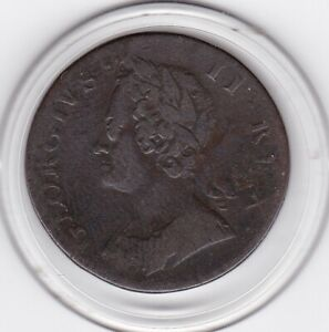 1748   King  George   II    Half  Penny  (1/2d)  Copper  Coin