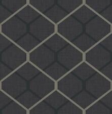 Wallpaper Modern Retro Mid Century Metallic Silver and Black Trellis on Black