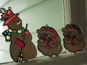 CHRISTMAS SUN CATCHERS SANTA CLAUS and SNOWMAN Lot of 3 VINTAGE SUNCATCHERS