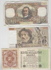 More details for 6 different germany & france banknotes in fine or better condition