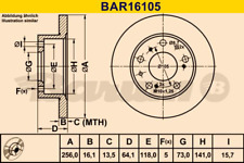 2x Bremsscheibe BARUM BAR16105 vorne für CITROËN FIAT PEUGEOT