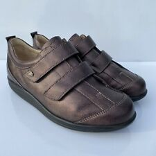 Finn Comfort Germany Womens 5.5 C Brown Metallic Leather Strap On Loafer Shoes