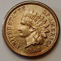 1863 Indian Head Cent Grading AU Nice Coin Priced Right Shipped FREE  i30