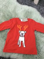 Next Baby Boy/Girls Red Dog Christmas / Xmas Top Age 3-6 Months BNWT