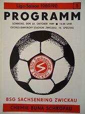 Program 1989/90 Bsg Sachsenring Zwickau - Roasted Schkopau
