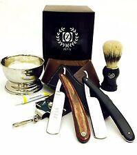 8 PC Straight Razor Dovo Paste Leather Strop Bag Shaving Gift Set in Box USA
