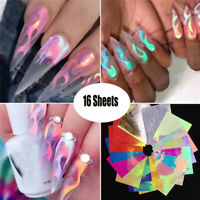 16Pcs Holographic Feuer Flamme Nagelsticker Nail Art Maniküre Sticker