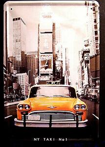 Ny Taxi No 1 New York Yellow Cab Skyline Tin Sign 11 x 8