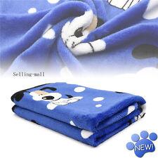 Pet Blanket Small Medium Large Print Pet Cat Dog Fleece Soft Warmer Bed Mat Blue