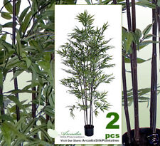 TWO 6' Bamboo Artificial Trees Silk Plants w/Pot 455