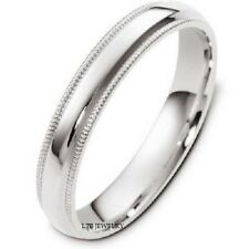 MENS WOMENS 10K WHITE GOLD WEDDING BANDS,UNISEX DOME MILGRAIN 4MM WEDDING RING