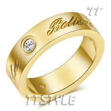 TTstyle Stainless Steel Hope Dream Believe Band Ring With CZ Gold Choose Size